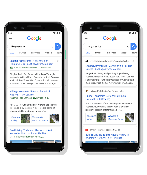 Tampilan baru google search mobile 2019